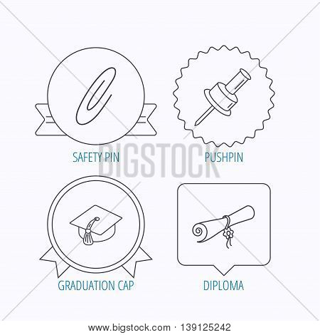 Graduation cap, pushpin and diploma icons. Safety pin linear sign. Award medal, star label and speech bubble designs. Vector