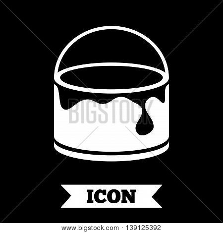 Bucket of paint icon. Painting works sign. Painter equipment. Graphic design element. Flat painting symbol on dark background. Vector