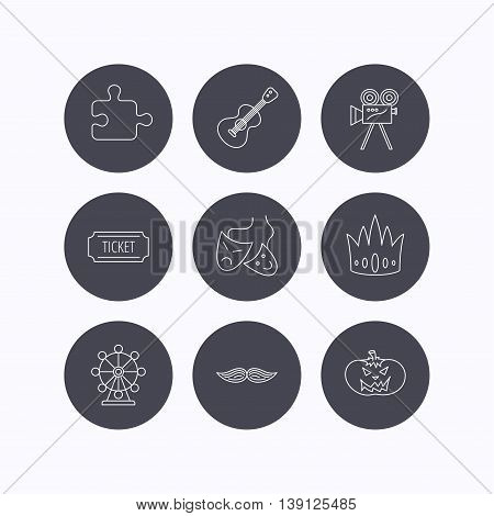 Puzzle, guitar music and theater masks icons. Ticket, video camera and crown linear signs. Entertainment, halloween pumpkin and mustache icons. Flat icons in circle buttons on white background. Vector