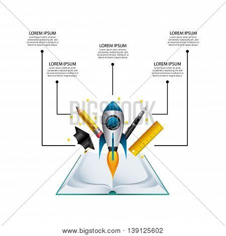 Infographic education concept represented by book cap pen rocket pencil rule icon. Colorfull and flat illustration.