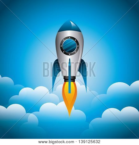 Science and spaceship concept represented by rocket and cloud icon. Colorfull and flat illustration.