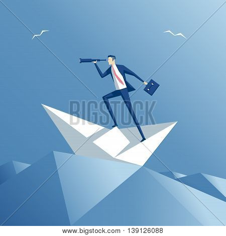 Businessman on a paper ship in heavy sea. Employee on a paper boat floating on the waves. Business concept searching and risks