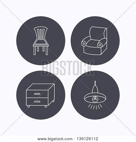 Ceiling lamp, nightstand and armchair icons. Chair linear sign. Flat icons in circle buttons on white background. Vector