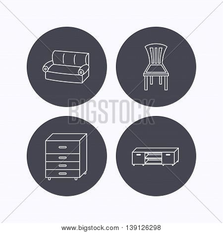 Sofa, chair and chest of drawers icons. TV table linear sign. Flat icons in circle buttons on white background. Vector