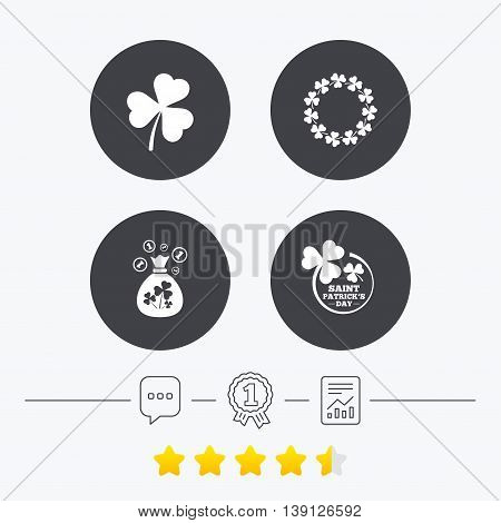 Saint Patrick day icons. Money bag with clover sign. Wreath of trefoil shamrock clovers. Symbol of good luck. Chat, award medal and report linear icons. Star vote ranking. Vector