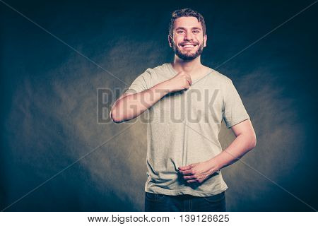 Man Guy In Blank Shirt With Empty Copy Space.