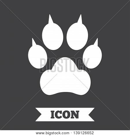 Dog paw with clutches sign icon. Pets symbol. Graphic design element. Flat paw symbol on dark background. Vector