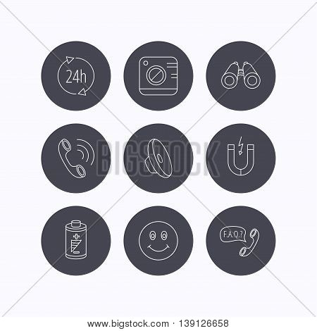 Phone call, battery and faq speech bubble icons. 24h service, photo camera and sound linear signs. Smile and search icons. Flat icons in circle buttons on white background. Vector