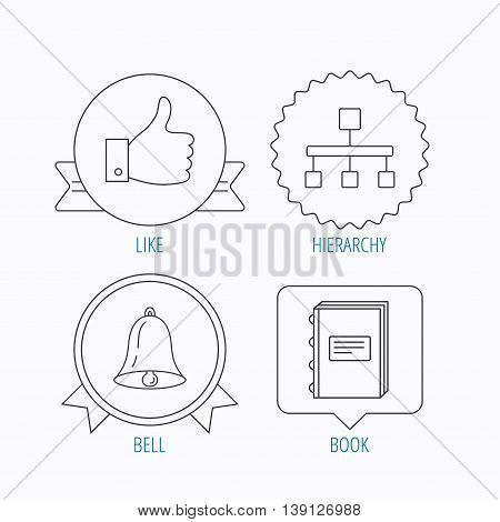 Hierarchy, like and bell icons. Book linear sign. Award medal, star label and speech bubble designs. Vector