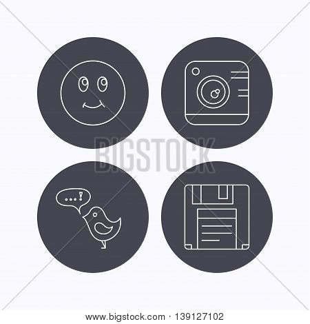 Photo camera, floppy disk and message icons. Smiling face linear sign. Flat icons in circle buttons on white background. Vector