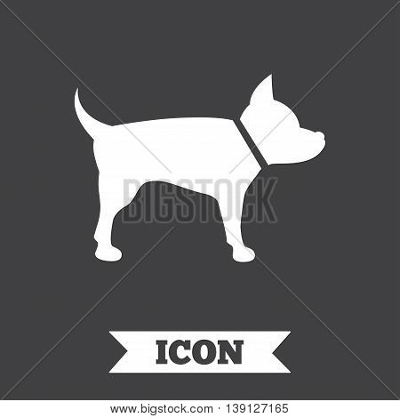 Dog sign icon. Pets symbol. Graphic design element. Flat pets symbol on dark background. Vector