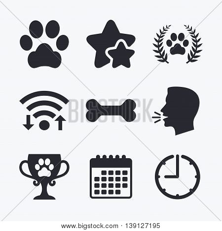 Pets icons. Dog paw sign. Winner laurel wreath and cup symbol. Pets food. Wifi internet, favorite stars, calendar and clock. Talking head. Vector