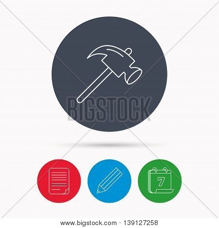 Hammer icon. Repair or fix sign. Construction equipment tool symbol. Calendar, pencil or edit and document file signs. Vector