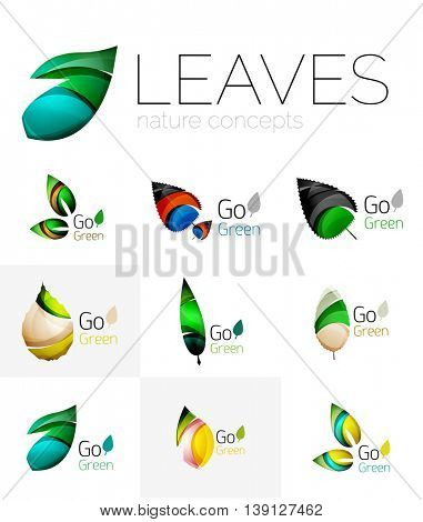 Colorful abstract geometric design leaves, icon set. illustration