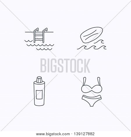 Surfboard, swimming pool and lingerie icons. Shampoo linear sign. Flat linear icons on white background. Vector
