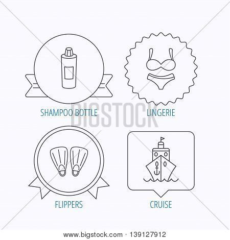 Cruise, swimming flippers and lingerie icons. Shampoo bottle linear sign. Award medal, star label and speech bubble designs. Vector