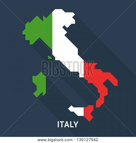 Italy map and flag isolated on blue background. European country. Vector template for website, design, cover, infographics. Graph illustration.