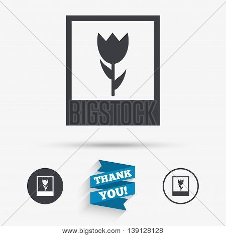 Macro photo frame sign icon. Flower photography symbol. Flat icons. Buttons with icons. Thank you ribbon. Vector
