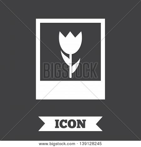 Macro photo frame sign icon. Flower photography symbol. Graphic design element. Flat macro photo symbol on dark background. Vector