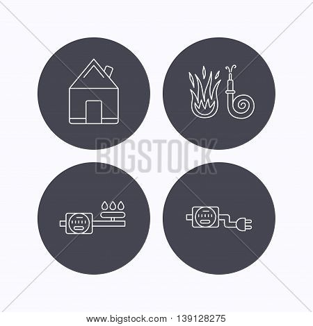 Real estate, fire hose and gas counter icons. Electricity counter linear sign. Flat icons in circle buttons on white background. Vector