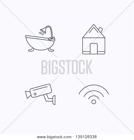 Wifi, video camera and real estate icons. Bath linear sign. Flat linear icons on white background. Vector