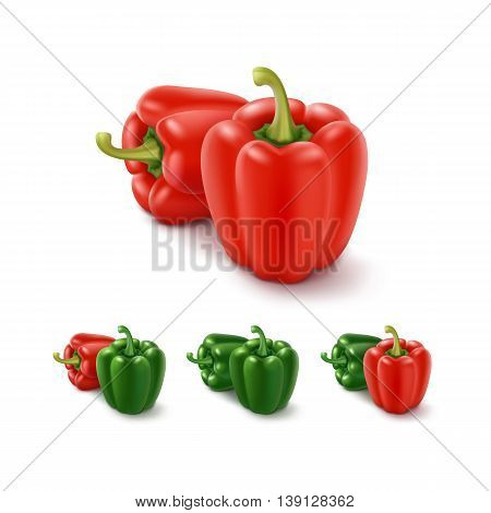 Vector Set of Colored Green and Red Sweet Bulgarian Bell Peppers, Paprika Isolated on White Background