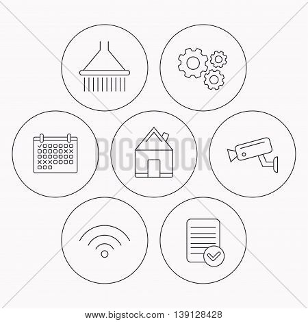 Wi-fi, video monitoring and real estate icons. Shower linear sign. Check file, calendar and cogwheel icons. Vector