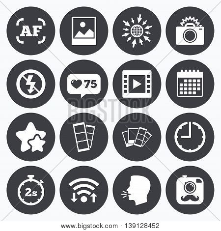 Calendar, wifi and clock symbols. Like counter, stars symbols. Photo, video icons. Camera, photos and frame signs. No flash, timer and strips symbols. Talking head, go to web symbols. Vector