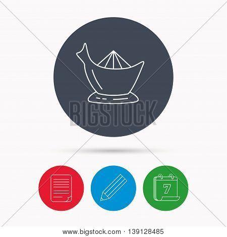 Juicer icon. Squeezer sign. Kitchen electric tool symbol. Calendar, pencil or edit and document file signs. Vector