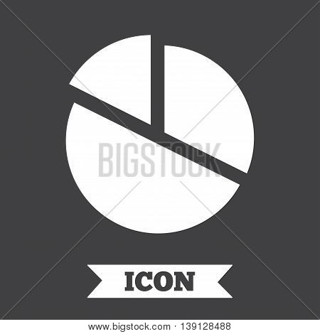 Pie chart graph sign icon. Diagram button. Graphic design element. Flat pie chart symbol on dark background. Vector