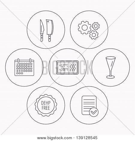Kitchen knives, glass and heat-resistant icons. DEHP free linear sign. Check file, calendar and cogwheel icons. Vector