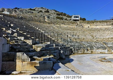 Panorama of Ancient Theater in the archeological area of Philippi, Eastern Macedonia and Thrace, Greece