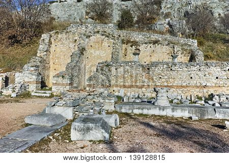 Ruins in the archeological area of Philippi, Eastern Macedonia and Thrace, Greece