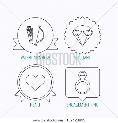 Love heart, brilliant and engagement ring icons. Valentine bow linear sign. Award medal, star label and speech bubble designs. Vector