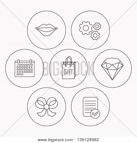 Lips kiss, brilliant and gift icons. Bow-knot linear sign. Check file, calendar and cogwheel icons. Vector