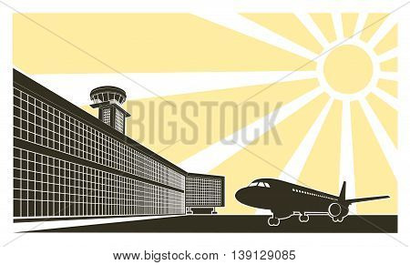On the image is presented airport modern terminal with a tower