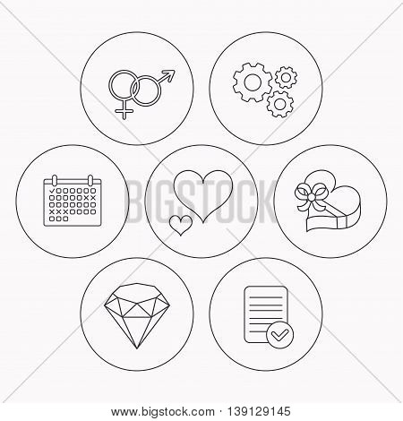 Love heart, gift box and brilliant icons. Male and female linear signs. Check file, calendar and cogwheel icons. Vector