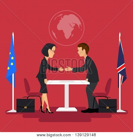 On the image presented Business meeting of politicians,signing of agreements.Flat style