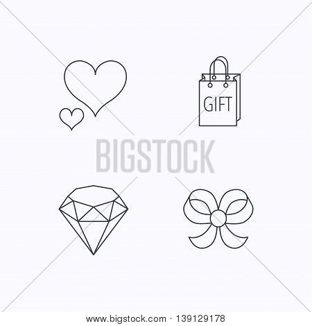 Love heart, gift bag and brilliant icons. Bow-knot linear sign. Flat linear icons on white background. Vector