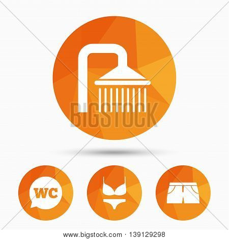 Swimming pool icons. Shower water drops and swimwear symbols. WC Toilet speech bubble sign. Trunks and women underwear. Triangular low poly buttons with shadow. Vector