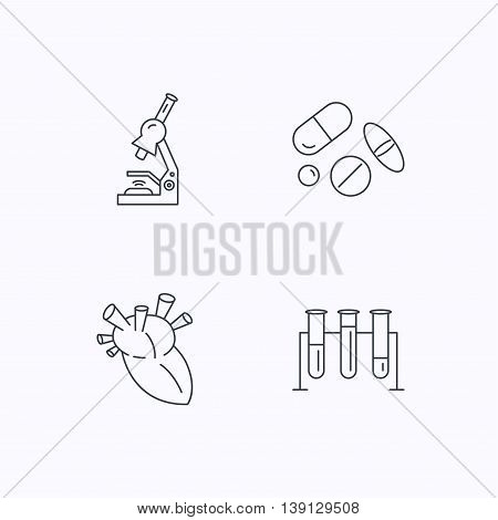 Microscope, medical pills and heart icons. Lab bulbs linear sign. Flat linear icons on white background. Vector