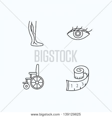 Vein varicose, wheelchair and weight loss icons. Eye linear sign. Flat linear icons on white background. Vector