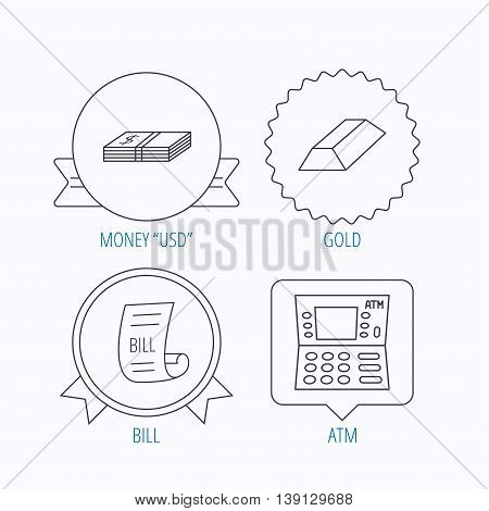 ATM, cash money and bill icons. Gold bar linear sign. Award medal, star label and speech bubble designs. Vector