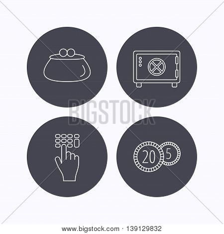 Cash money, safe box and wallet icons. Coins, enter code linear sign. Flat icons in circle buttons on white background. Vector