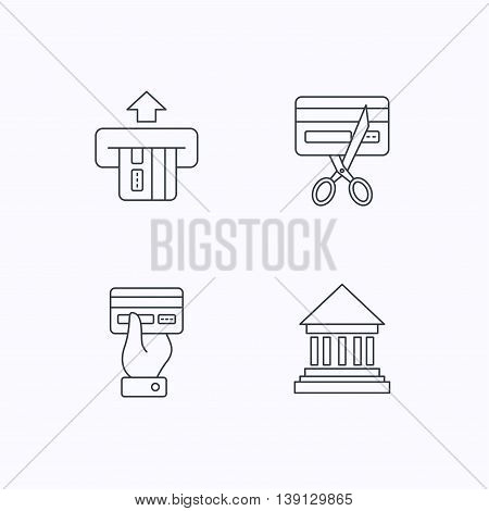 Bank credit card, expired card icons. Give credit card linear sign. Flat linear icons on white background. Vector
