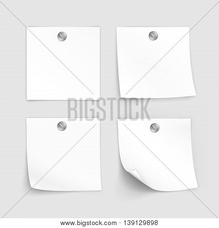 Vector Set of Paper Sticker Sticky Note Memo Label Isolated on White Background