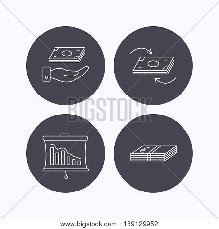 Banking, cash money and statistics icons. Money flow, save money linear sign. Flat icons in circle buttons on white background. Vector