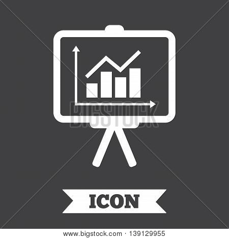 Presentation billboard sign icon. Scheme and Diagram symbol. Graphic design element. Flat presentation symbol on dark background. Vector