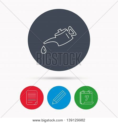 Motor oil icon. Fuel can with drop sign. Calendar, pencil or edit and document file signs. Vector
