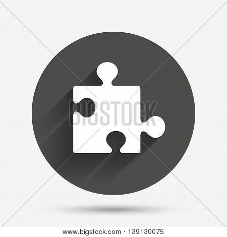 Puzzle piece sign icon. Strategy symbol. Circle flat button with shadow. Vector